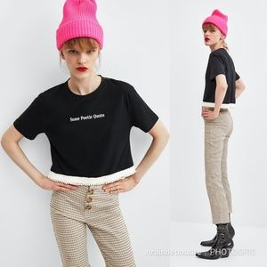Zara Poetic Quote Pearl Hem Cropped T Shirt  M L